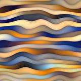 Vervormde de rooster Naadloze Blauwe Oranje Gradiënt Golvend Lijnenpatroon Stock Afbeeldingen