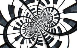 Vervormde fractal van de de muziekwerveling van het Pianotoetsenbord abstracte spiraalvormige patroonachtergrond Zwart-witte pian Royalty-vrije Stock Afbeeldingen