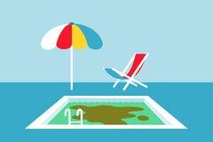 Vervuild water in het zwembad vector illustratie