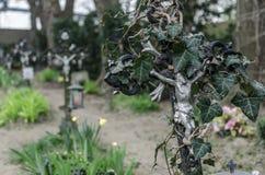 Verwachsenes kreuz auf friedhof Fotografia Stock
