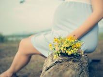 Verwachting van het de geboortekind van het Wildflowers de zwangere moederschap Royalty-vrije Stock Foto