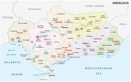 Verwaltungs- und politische Vektorkarte Andalusiens stock abbildung
