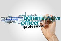 Verwaltungsbeamtewort-Wolkenkonzept auf grauem Hintergrund Lizenzfreie Stockbilder