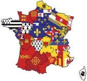 Verwaltungskarte von Frankreich Stockfotos