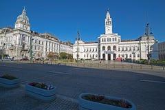 Verwaltungspalast von Arad, Rumänien Columned Gebäude lizenzfreies stockbild