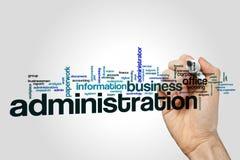 Verwaltungswort-Wolkenkonzept auf grauem Hintergrund Lizenzfreies Stockbild