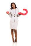 Verward vrouwenvraagteken Stock Fotografie