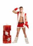 Verwarde die geschiktheid Santa Claus op witte achtergrond wordt geïsoleerd Stock Fotografie
