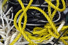Verwarde het koord geweven achtergrond van de kabelstreng stock afbeeldingen