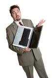 Verwarde Laptop Mens stock foto