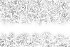 Verwarde Stapel van Witte Geometrische Confettienvormen op een Heldere Rug stock illustratie