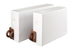 Verwarmend batterijradiators op wit worden geïsoleerd dat Royalty-vrije Stock Foto's