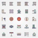 Verwarmende vlakke pictogrammen Royalty-vrije Stock Fotografie