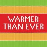 Verwarmingstoestel dan ooit Het gebreide van letters voorzien Royalty-vrije Stock Fotografie