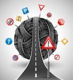 Verwarring van wegen met tekens Stock Afbeeldingen
