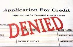 Verweigerte Anwendung für Gutschrift Stockfotos