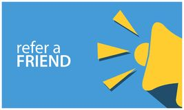 Verweisen Sie einen Freund mit Megaphon Flache Vektorillustration auf weißem Hintergrund lizenzfreie abbildung