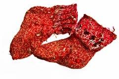 Verwend kinderen gebreide sokken Stock Foto