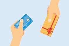 Verwenden Sie Kreditkarte-Austausch zum Geschenk Stockfotografie