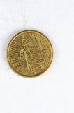 Verwendete Eurocent 10 Münze mit französischer Rückseite Blick Stockfotografie