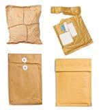 Verwendetes offenes Post des Postpaket-Umschlags Kasten Stockfotos