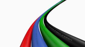 Verwerk, Internet-kabels of draden op witte achtergrond gegevens royalty-vrije stock afbeeldingen