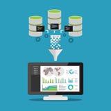 Verwerking voor het exploiteren van gegevens Bedrijfsintelligentieconcept Bedrijfsstatistiekenanalyse Royalty-vrije Stock Afbeelding