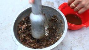 Verwerkingsvoedsel van shrim en krab door mortier en stamper stock videobeelden