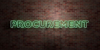 VERWERVING - fluorescent T.L.-buisteken op metselwerk - vooraanzicht - 3D teruggegeven royalty vrij voorraadbeeld stock illustratie