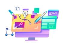 Verwezenlijking en ontwerp die computer met behulp van stock illustratie