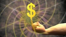 Verwezenlijking van het dollarsymbool van een gouden slijpstof royalty-vrije illustratie