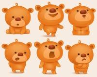 Verwezenlijkingsreeks teddybeerkarakters met verschillende emoties royalty-vrije illustratie