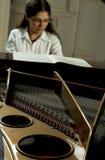 Verwezenlijkte Pianist bij de Piano stock afbeeldingen