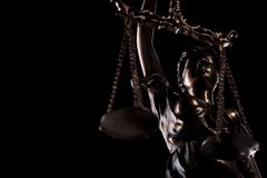 Verwijderd beeld van de godin van rechtvaardigheidsstandbeeld Stock Afbeeldingen