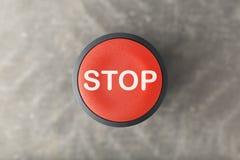 Verwijderd van een Rode Cirkelpaniekdrukknop stock afbeelding