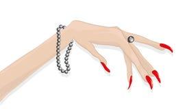 Verwijfde hand met een manicure. Vector Royalty-vrije Stock Fotografie