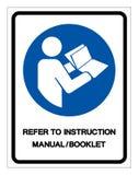 Verwijs het Teken van het het Boekjessymbool van het Instructiehandboek, VectordieIllustratie, op Wit Etiket wordt ge?soleerd Als stock illustratie