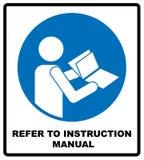 Verwijs naar het boekje van het instructiehandboek stock illustratie