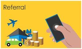 Verwijzing met hand - gehouden smartphone op de gele achtergrond Vlakke vectorillustratie stock illustratie
