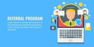 Verwijzingsprogramma - netwerk marketing - filiaalvennootschap Vlakke ontwerp marketing banner royalty-vrije illustratie