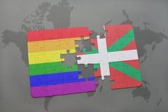 verwirren Sie mit der Staatsflagge des baskischen Landes und der homosexuellen Regenbogenflagge auf einem Weltkartehintergrund Stockbild