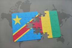 verwirren Sie mit der Staatsflagge des Demokratischen Republiken Kongo und der Guine auf einer Weltkarte vektor abbildung