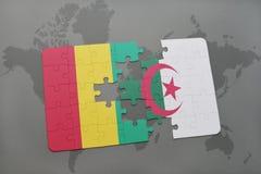 verwirren Sie mit der Staatsflagge der Guine und des Algeriens auf einer Weltkarte lizenzfreie abbildung