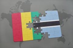verwirren Sie mit der Staatsflagge der Guine und des Botswanas auf einer Weltkarte vektor abbildung