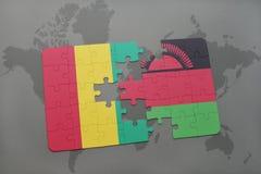 verwirren Sie mit der Staatsflagge der Guine und des Malawis auf einer Weltkarte lizenzfreie abbildung