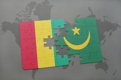 verwirren Sie mit der Staatsflagge der Guine und des Mauretaniens auf einer Weltkarte vektor abbildung