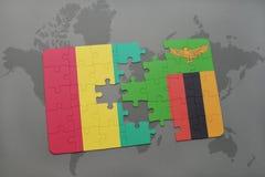 verwirren Sie mit der Staatsflagge der Guine und des Sambias auf einer Weltkarte lizenzfreie abbildung
