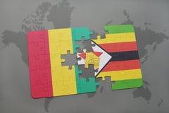 verwirren Sie mit der Staatsflagge der Guine und des Simbabwes auf einer Weltkarte stock abbildung