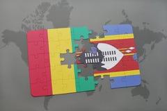 verwirren Sie mit der Staatsflagge der Guine und des Swasilands auf einer Weltkarte vektor abbildung