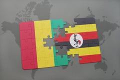 verwirren Sie mit der Staatsflagge der Guine und des Ugandas auf einer Weltkarte vektor abbildung